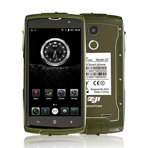 HOMTOM ZOJI Z7 4G Smartphone Ohne Vertrag 5.0 Zoll CNC-Metallrahmen IP68 Wasserdicht Stoßfest Staubdicht Quad Core Dual SIM 2GB RAM+16GB ROM 13MP+5MP Kameras GPS Dick Android 6.0 Fingerabdrucksensor(Grün)