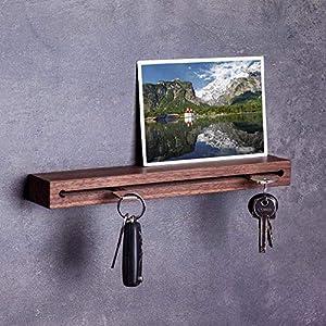 Woods Schlüsselbrett Holz mit Ablage I Nut - Schlüsselhalter modern I Wanddekoration aus Holzhandgefertigt in Bayern I Schlüsselleiste Landhaus Design I Schlüsselboard Länge 30 cm Nuss-Holz