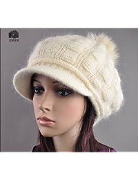Las mujeres de Rabbit Fur tejer Crochet holgados Beanie Hat Soft Crochet Tapa de esquí de Baqueira Beret beige