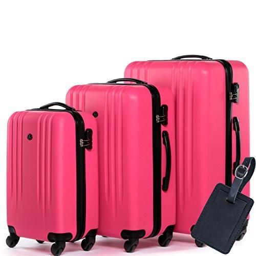 FERGÉ Kofferset Hartschale 3-teilig + 1x Anhänger Marseille Trolley-Set - Handgepäck 55 cm L XL - 3er Hartschalenkoffer Roll-Koffer 4 Rollen pink