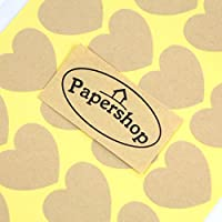 Kraft Heart Stickers (x36) - DIY Blank Heart Labels - For Sealing Envelopes, Valentine