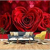 Qbbes Personnalisé Toute Taille 3D Peinture Murale Papier Peint Peintures Murales Romantique Rouge Rose Chambre Tv Fond Murale Photo Papier Peint Pour Le Salon-150X120Cm