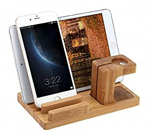 4 in 1 Bambus Holz Stand docking station Ladestation Halterung für Apple Watch 38/42mm Alle Models,Android und Apple Geräte, Tablet