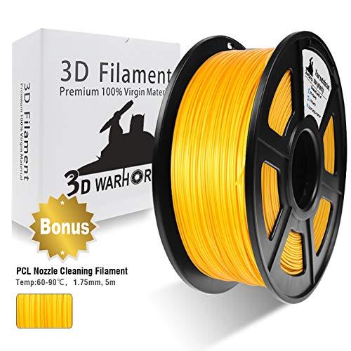 3D Warhorse PLA Oro 1,75 mm Filamento per Stampante 3D 1 KG, Bonus con Filamento per Pulizia Ugelli
