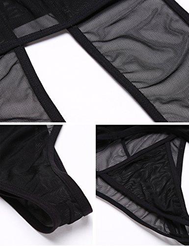 Untlet Damen Body Sexy Dessous Lingerie Negligee Rückenfrei Neckholder Bodysuit Unterwäsche Babydoll Schwarz