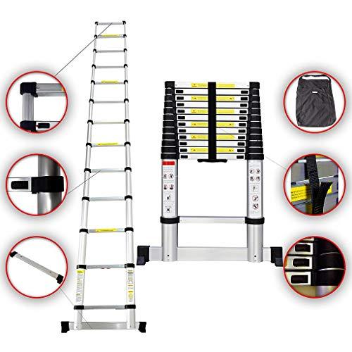 Sotech - Escalera Plegable, Escalera Telescópica, 3,8 Metro(s), Bolsa de transporte GRATIS, Barra estabilizadora, EN 131, Carga máxima: 150 kg, Estándar/Certificación: EN131