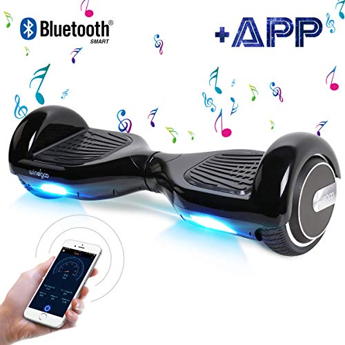 Windgoo Hoverboard 6.5' Balance Board Patinete Eléctrico Scooter Talla LED 350W*2 (N1negro)