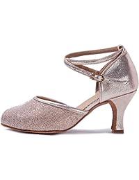 YKXLM Mujeres&Niña Zapatos latinos de baile Zapatillas de baile de salón Salsa Performance Calzado de Danza,Modelo ESWXCL