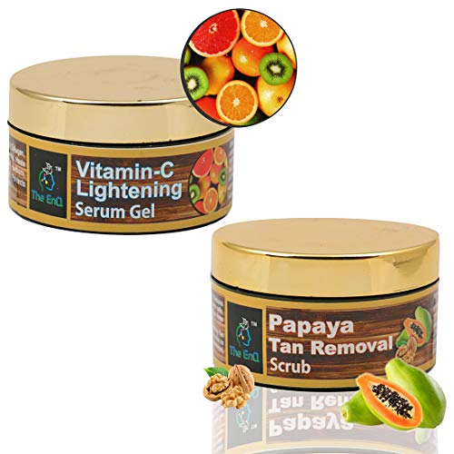 The EnQ Papaya Tan Removal Scrub 50gm + The EnQ Vitamin C Lightening Serum Gel 50 GM