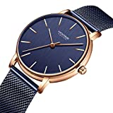 Men\s Watch Simple Business Fashion Ultra-Thin Waterproof Dress Mesh Band Analog Quartz Wristwatch Minimalist Dark Blue Unisex