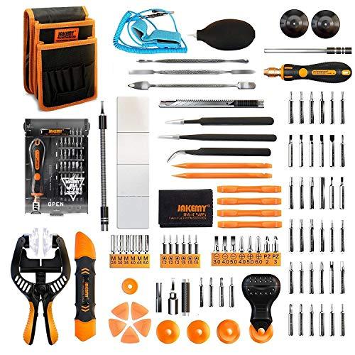 Jakemy - 99 in 1 Präzisions-Schraubendreher-Kit, 50 magnetische Schraubendrehereinsätze, Werkzeug-Kit mit Tasche zur Reparatur von iPhones 11/X/8/Plus, Computern, MacBooks, Tablets
