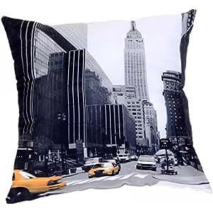 New York -Coussin Imprimé Déco New York Taxi Chrysler Building Avenue de Manathan