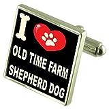 Select Gifts Ich liebe meinen Hund Silver-Tone Manschettenknöpfe alte Zeit Farm Hirte