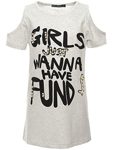 BEZLIT Mädchen Long-Shirt Kunst-Perlen Modischem Cut-Out Kleider 22601 Grau Größe 164