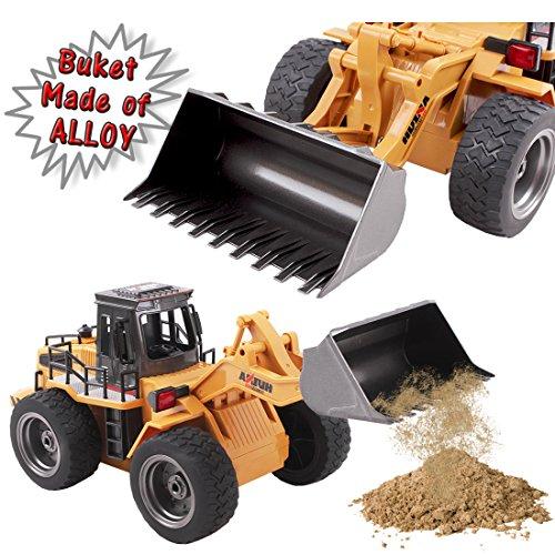 RC Baufahrzeug kaufen Baufahrzeug Bild 1: deAO RC Radlader mit LED Beleuchtung und Sounds Radio Kontrollierter Baustellen LKW inklusive wieder ladbare Batterien mit lade Station*