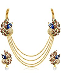 Youbella Jewellery Gold Plated Traditional Dancing Peacock Necklace Set With Earrings For Girls And Women