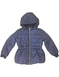 Ex-Store Girls Coat Fleece Lined Hooded Star Print Navy Blue