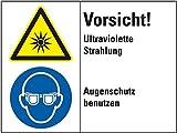 LEMAX® Kombischild Vorsicht! Ultraviolette Strahlung...,gem.ISO 3864-2,Folie,200x150mm