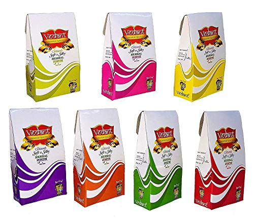 Fizzytech Vedant Herbal Gulal Holi Colour Powder (Glittered- 7 Pack Gift Box) …