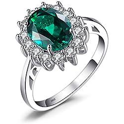 JewelryPalace 2.5ct Elégant Diana Princesse Kate Middleton Bague Femme en Argent Sterling 925 en Emeraude de Synthèse Verte Taille 52
