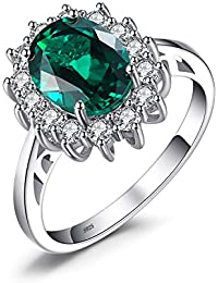 Jewelrypalace Synthetisch Lila-Blau Alexandrit Saphir Rubin Smaragd Prinzessin Diana Silberring Ring Solid 925 Sterling Silver