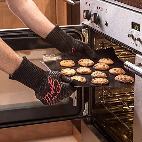 51FNazSUReL - Hans Grill Grillhandschuhe Ofenhandschuhe - Hitzefeste BBQ Handschuhe Topfhandschuhe Professionelle Zertifizierte Küchenhandschuhe 500°C 923°F 1 Paar