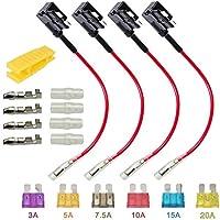 ARTGEAR Portafusible con hilo in-line coche Circuito Cuchilla Estilo Adaptador Cable Fusible Add-A-Circuit Fusible Titular con 6 Fusibles Conjunto 3,5, 7.5, 10, 15, 20AMPS - Estándar Mediano Tamaño