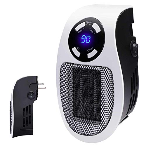 RENXR Wandmontage Warme Luft Maschine,Handliche Steckdose Space Heater Plug-In Keramik Mini Portable Timer LED-Anzeige Handy Wall-Outlet Space Heater Plug-In Ceramic Mini Portable Timer