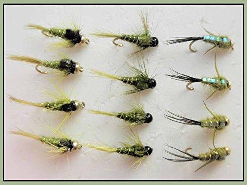 12Beschwerte Nymphe Forellenangeln Fliegen, Oliven, 3Sorten, Größe 10/12, gemischt