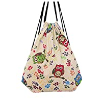 Vikenner Canvas Drawstring Storage Backpack Bag Owl Patterns Gym PE Sports Sack Bags Shoulder Rucksack for Adults Children School/Travel/Swimming Storage - 34.5*40cm - Beige