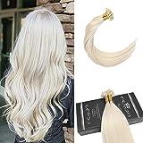Ugeat 24 Pouces/60cm Pre Bonded Flat Tip Extensions Tissage Naturel Blond #60 Keratine Pose a Chaud Cheveux Naturels Meche Extensions 1g*50strand