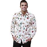Familizo Costume de Pere Noel, Mode Vente Chaude Impression T-shirt à Manches Longues (Blanc, XX-Large)