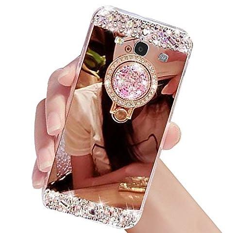 Diamant Bling Luxe Coque pour Samsung Galaxy S3 I9300 / S3 NEO I9305 – Sunroyal Ultra Slim Cristal Brillant Reflet Miroir Case avec 360 Degrés Rotation Bague Glitter Anneau Stand Holder Flex Soft Gel en TPU Silicone Shockproof Anti Scratch Couverture Shell pour Femme Fille Miroir Etui maquillage pour Samsung Galaxy S3 I9300 / S3 NEO I9305 - Rose Or