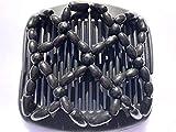 African Butterfly Haarkamm, afrikanischer Stil, mit schwarze und türkise Perlen, 11cm, Schwarz