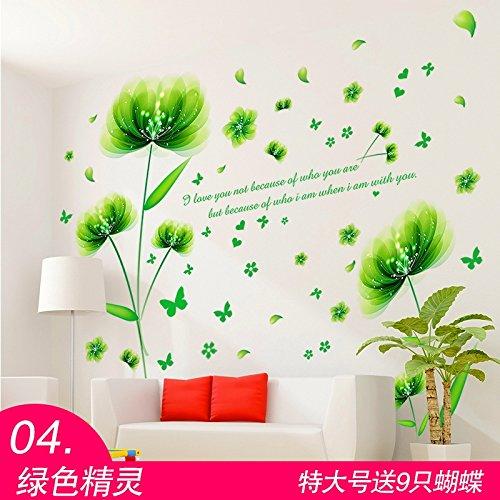 JKJND Schlafzimmerwandaufkleber Aufkleber Wanddekoration Wandmalerei Warme Nacht Hintergrund Selbstklebende Tapete Blume 3D-Stereo, 04 Grüne Elf 04 Stereo