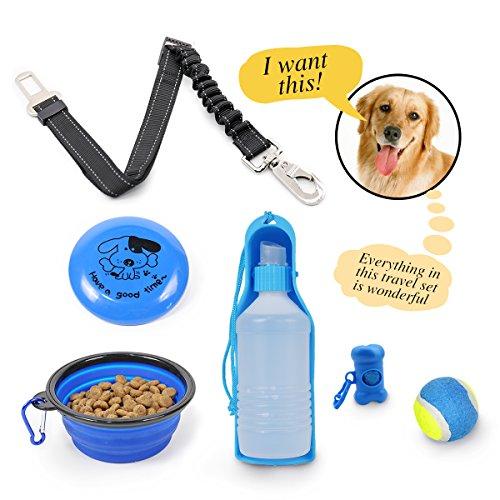 Pawz Road Hundespielzeug Wasserschüssel Faltbar Ball Hund Set 6 Pcs Hund Wasserflasche Beutelspender Draussen Interaktives Spielset mit Sicherheitsgeschirr Auto Hund