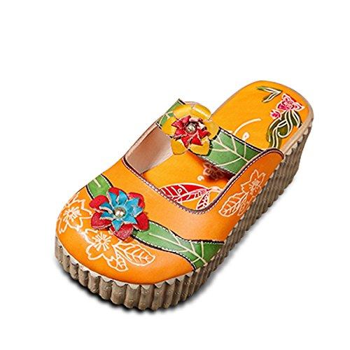 Socofy Pantofola in Pelle da Donna Mocassini Donna Sandali Piatti Slip-On in Pelle Estiva Slipper di Oxford Sandali Estivi Vintage Fiore Colorato Backless Scarpe Fannullone
