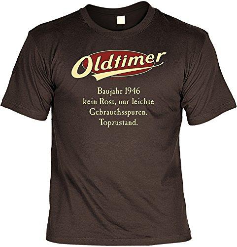 Geburtstags-Jahrgangs-Fun-Shirt-Set inkl. Mini-Shirt/Flaschendeko: Oldtimer Baujahr 1946 - geniales Geschenk Braun