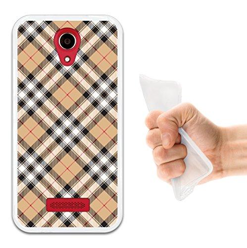 WoowCase Doogee X3 Hülle, Handyhülle Silikon für [ Doogee X3 ] Braun mit schwarzen Punkten Schottenkaro drucken Handytasche Handy Cover Case Schutzhülle Flexible TPU - Transparent