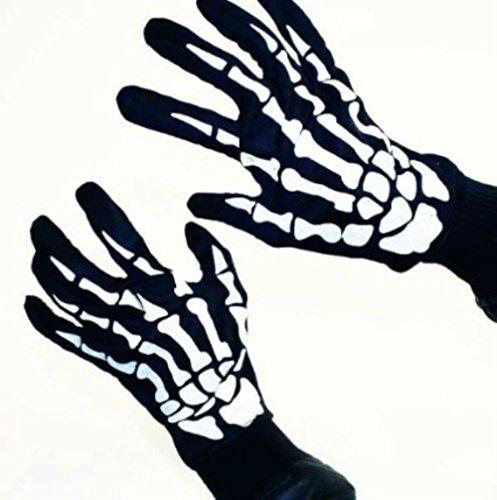 HAAC Skelett Handschuhe für Erwachsene für Halloween Fasching Karnevall