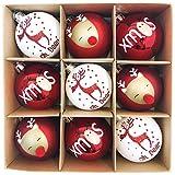 Victor's Workshop Weihnachtskugeln 9tlg.6cm Kunststoff Christbaumkugeln Weihnachtsdeko Weihnachtsbaum Dekoration Set Plastik Ornament mit Anhänger Oh Hirsch Thema Rot Weiß MEHRWEGVERPACKUNG