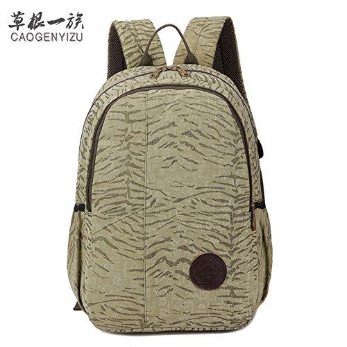 Canvas Tasche Mann Lady Rucksack Tasche Freizeit Tasche 15 Zoll Computer Bag Sporttasche Simple Mode, Braun Militär Grün