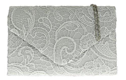 ladies-raso-pizzo-pochette-tracolla-catena-da-sposa-elegante-sera-womens-silver