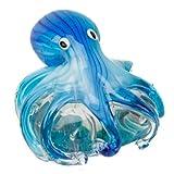 Juliana Objets d'art Glas-Figur Blauer Oktopus auf Stein, Briefbeschwerer