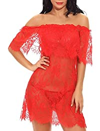 e476667f2339eb Dtuta Fashion Damenpuppen UnterwäSche One-Shoulder-Spitze Sexy Nachthemd