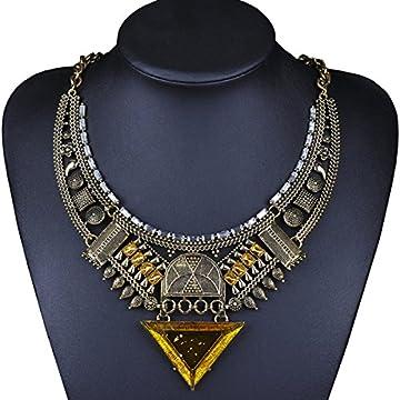 MSNHMU Retro Joyas De La India Collar De Diamantes Triángulo De Egipto 5