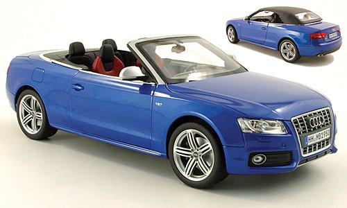 Audi S5 Cabriolet, met.-blau, 2009, Modellauto, Fertigmodell, Norev 1:18 (S5 Modell Audi)