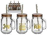 OOTB Trinkgläser-Set mit Deckel, Henkel und Strohhalm (0,4 Liter) mit Schraubdeckel und Trinkhalm-Loch (Joy & Fun, 6)