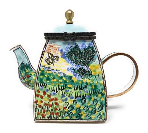 Kelvin Chen Van Gogh's Garden in Bloom emaillierte Miniatur-Teekanne mit Klappdeckel, 10,2 cm lang Teapot Museum