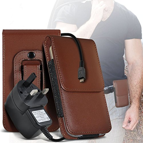 (Rot) Fall für iPhone 7 Plus-Handy-Fall (PU) Leder-Gurt-Klipp-Beutel-Kasten-Schlag-Abdeckung Holster mit Magnet + versenkbaren Stylus Touchscreen Stift iPhone 7 Plus-Fall von i-Tronixs Belt Flip+ 3 pin charger (Brown)